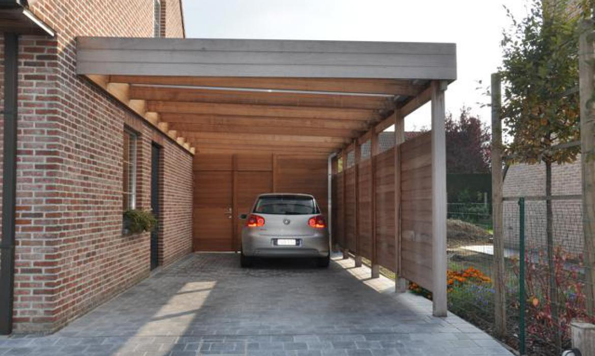 carport in iroko houten carports woodproject. Black Bedroom Furniture Sets. Home Design Ideas