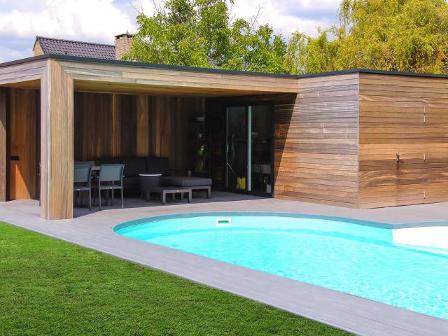 Poolhouse in padoek hout