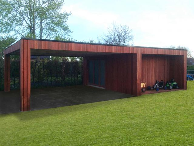 Moderne dubbele carport in padoek hout door Woodproject