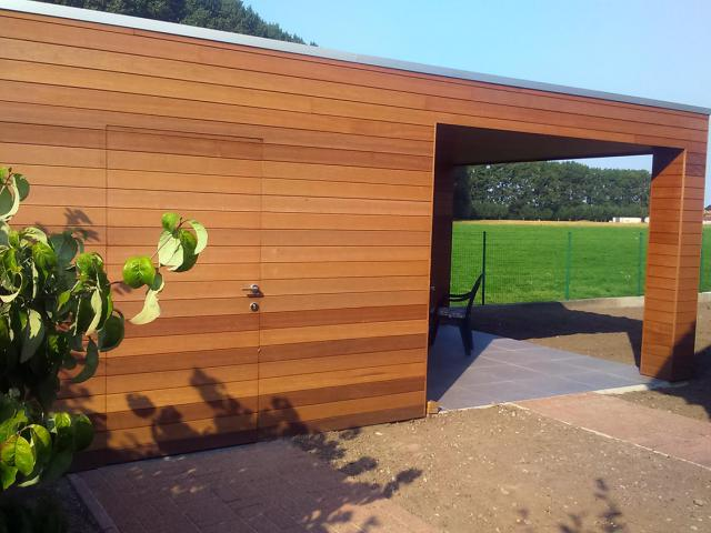 Poolhouse in thermowood ayous door Woodproject